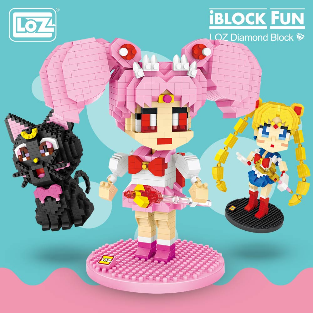 LOZ Diamond Blocks Cartoon Moon Chibi Japanese Anime Action Figures Luna Cat Building Bricks Diy Character Toys For Children Kid