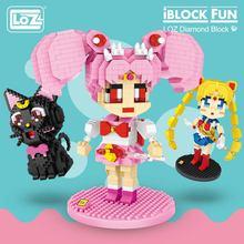 LOZ Diamond Blocks Kartun Bulan Chibi Anime Jepang Aksi Figur Luna Cat  Bangunan Batu Bata DIY Mainan Karakter untuk Anak Anak d554216e06