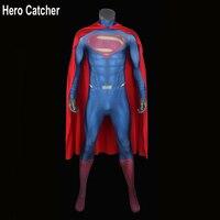 Hero Catcher Superman Costume Man of Steel Superman Spandex Lycra Halloween Cosplay Zentai Suit Hero Man Of Steel Superman Suit