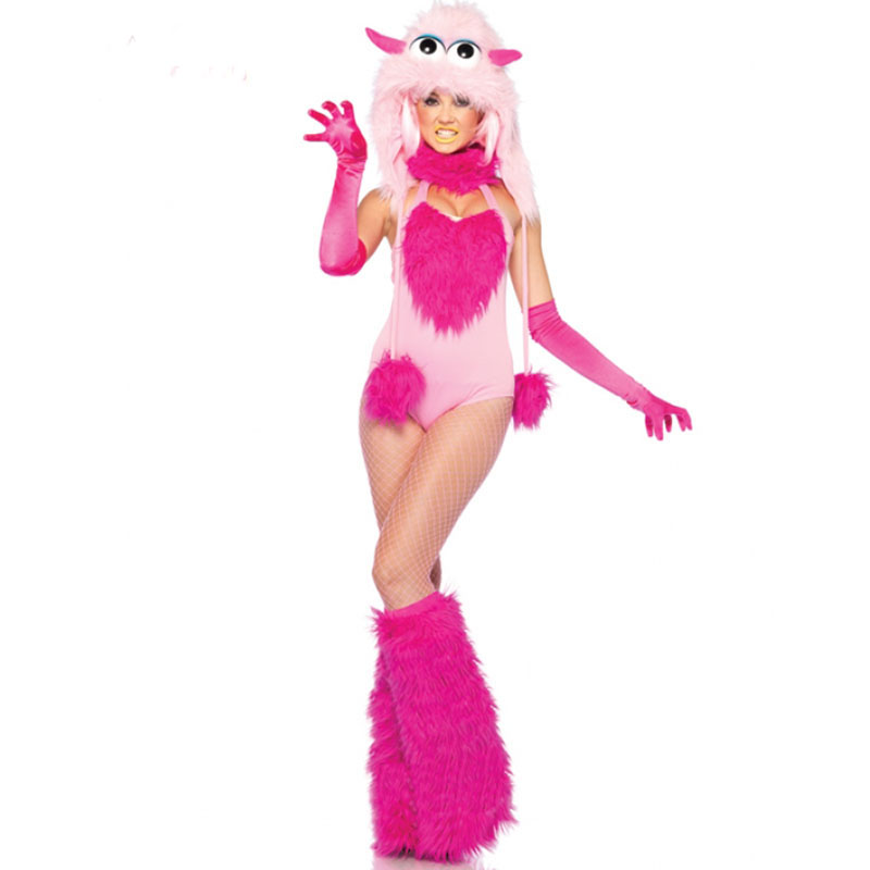 Lovely Cotton Candy Furry Monster Costume Adult Rose Novelty <font><b>Halloween</b></font> Costume For Women <font><b>Sexy</b></font> <font><b>Disfraces</b></font> Adultos W408560 image