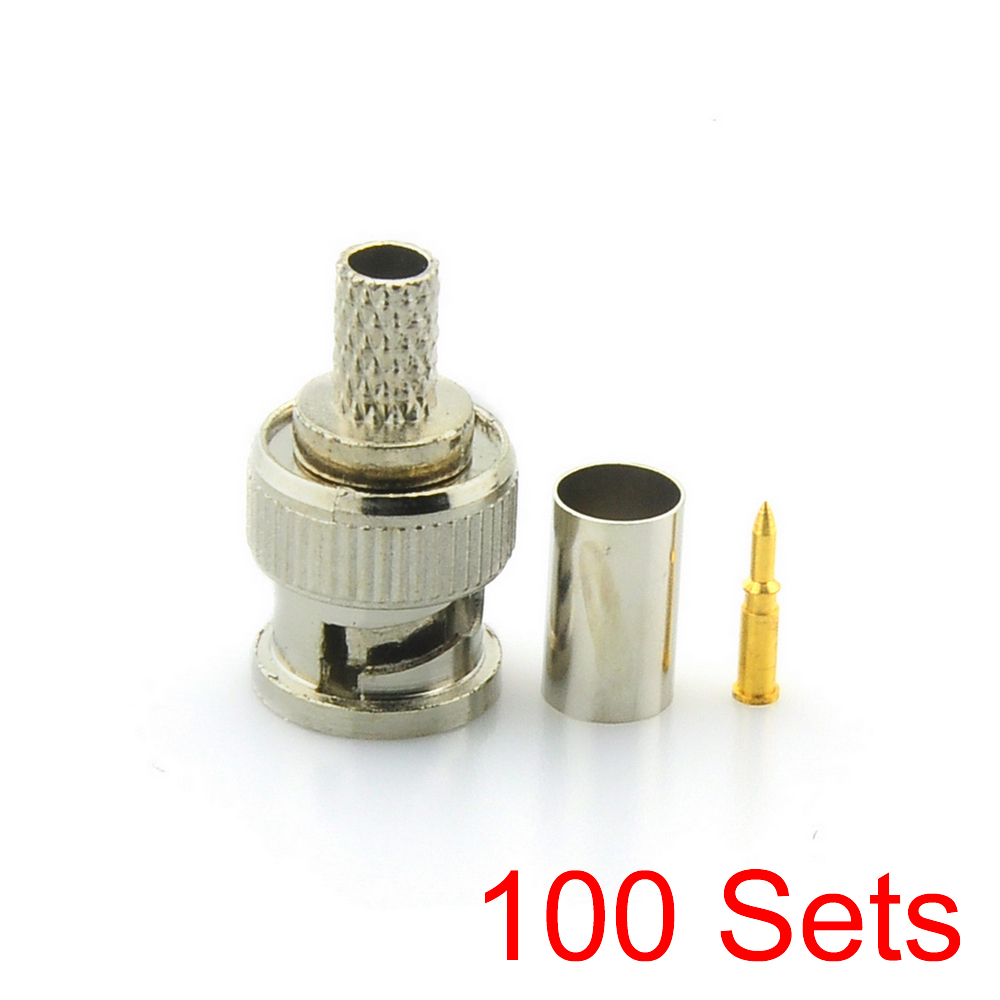 100x BNC Male 3 In 1 Crimp Connector For RG59 Coaxial Cable Coupler Adaptor
