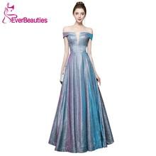 Off the Shoulder Elegant Evening Dresses Shiny Sequins Long Formal Dress Women Gowns Abendkleider 2019 Robe De Soiree
