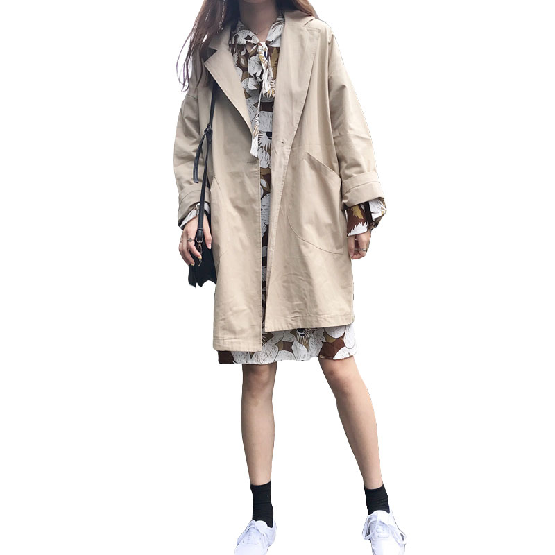 Oversized Loose Women's Windbreaker Fashion Big Pocket Solid Color Spring Coat Casual Long   Trench   Coat For Women Casaco Feminino