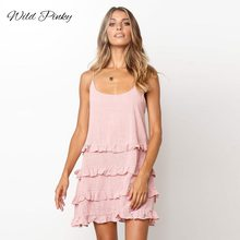 WildPinky Women Mini Dresses Sexy Backless Ruffles Spaghetti Strap U-neck Summer Dress Boho Casual Vestidos