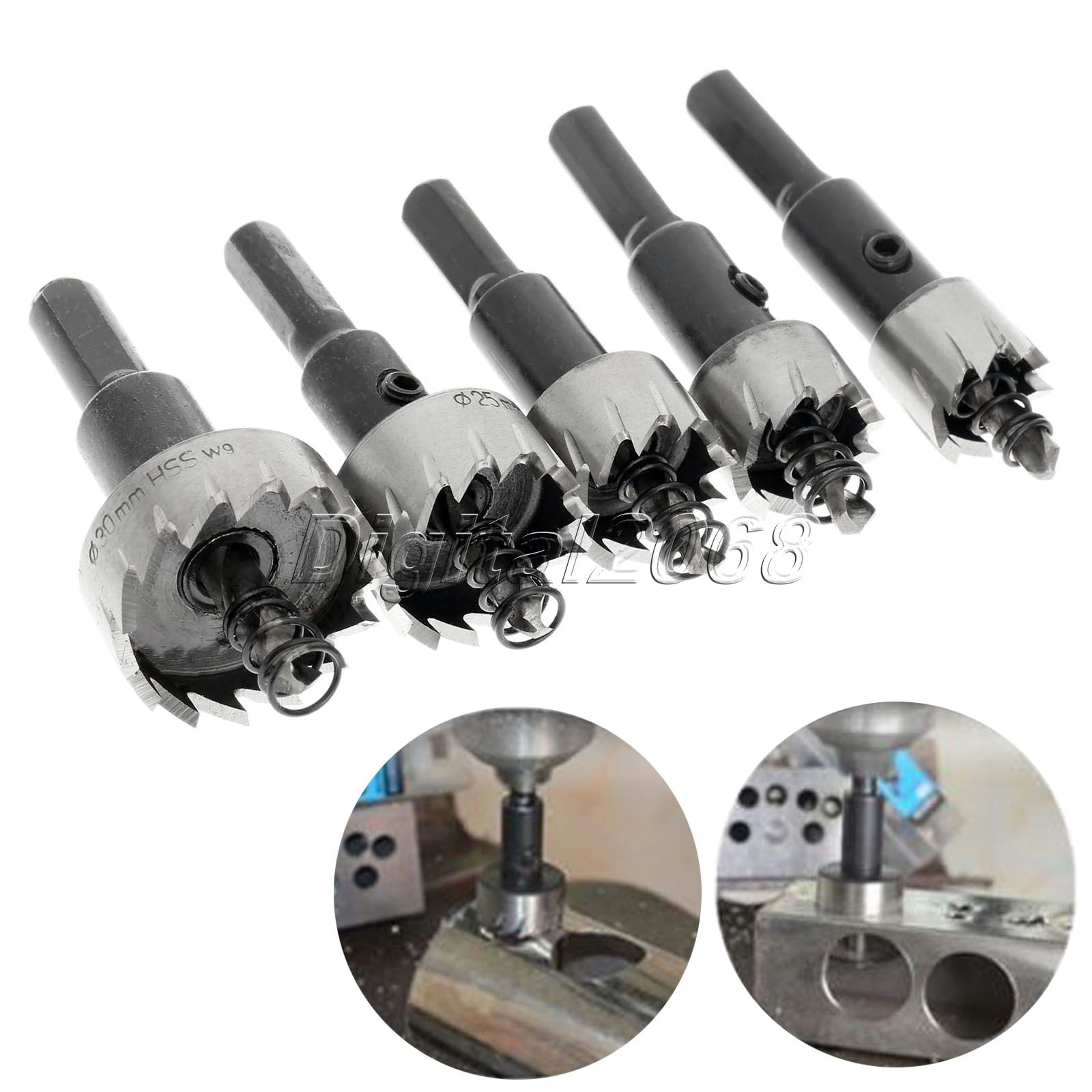 5PCS Drill Bits Hole Saw Set Carbide Tip HSS High Speed Steel Stainless Steel Metal Alloy Drilling Power Tools+Wrench 16mm-30mm 13pcs lot hss high speed steel drill bit set 1 4 hex shank 1 5 6 5mm free shipping hss twist drill bits set for power tools