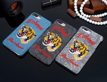 Hot Art Handmade Tiger Animal Retro Cell Phone Cases For iphone 6 6s 6Plus 6sPlus 7 7 Plus Chic Embroidery Mobile Case Cover