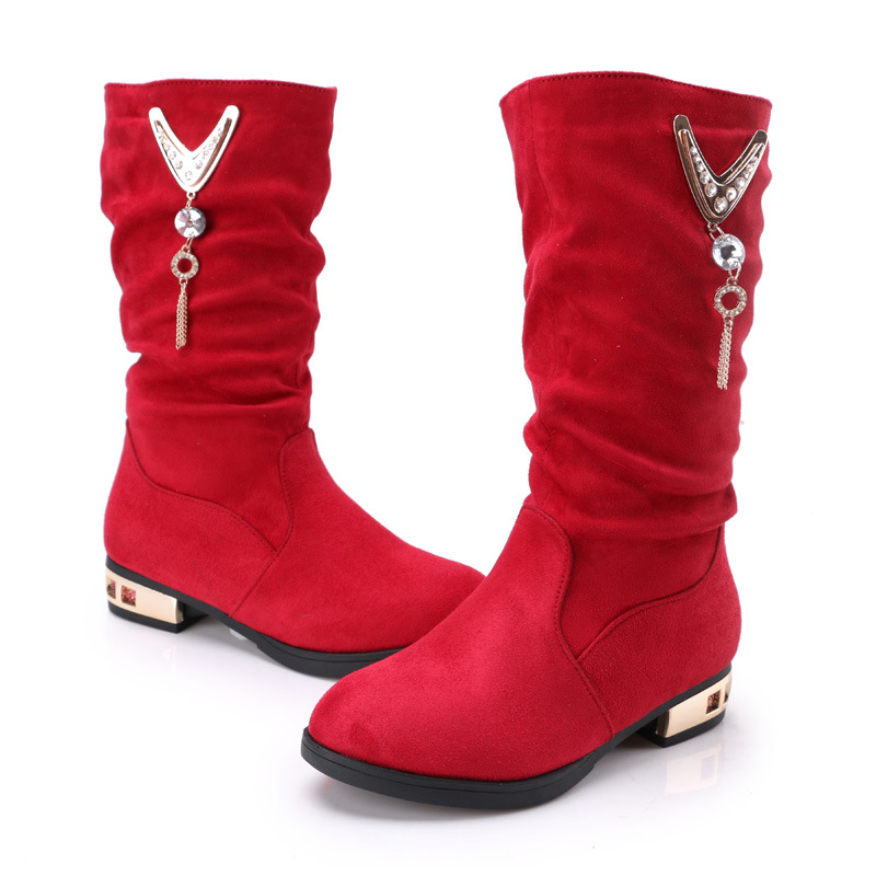 2017 Winter New Children Boots Girls Leather Boots Korean Fashion High Children Princess Girls Shoes Size 26-37 kelme 2016 new children sport running shoes football boots synthetic leather broken nail kids skid wearable shoes breathable 49