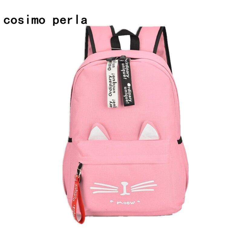 Japanese School Backpacks Pink Girls Cute Cat Ear Printing Canvas Backpacks Women 2019 Large Student Bag Laptop Cartoon Mochila
