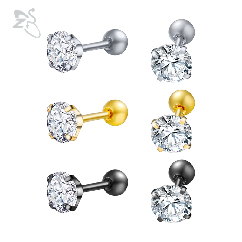 3mm 4mm 5mm 6mm 8mm 10mm Four Prong Set Clear CZ 16G Tragus Ear TRIPLE HELIX Piercing Stud Bar Earring broad paracord