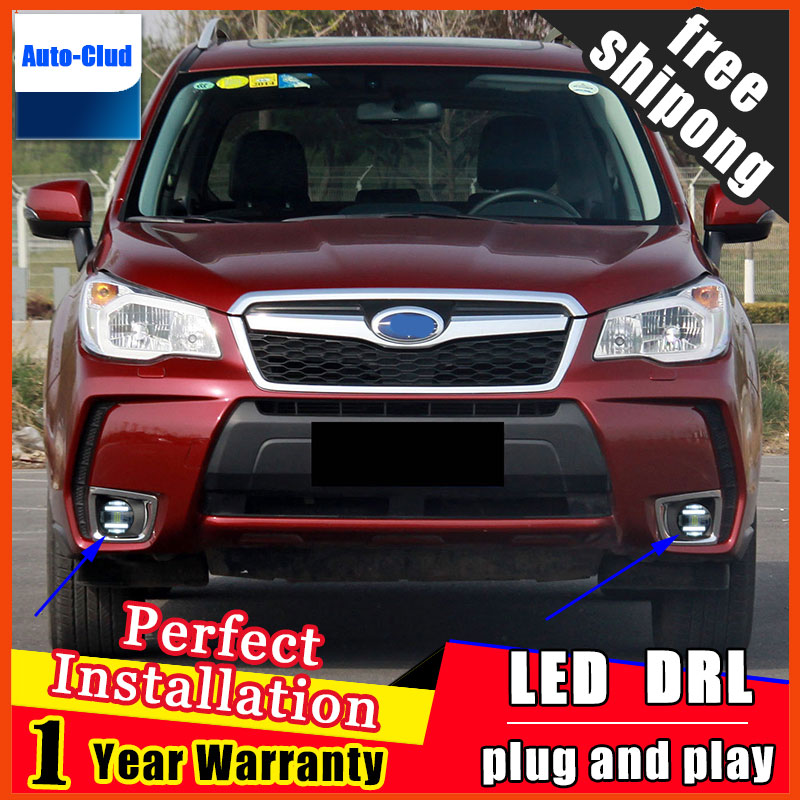 Car-styling LED Fog Light For SUBARU FORESTER 2013 - 2017 LED Fog Lamp With Lens And LED Day Time Running Ligh DRL 2 function система освещения for all car 2 7w 18 led drl