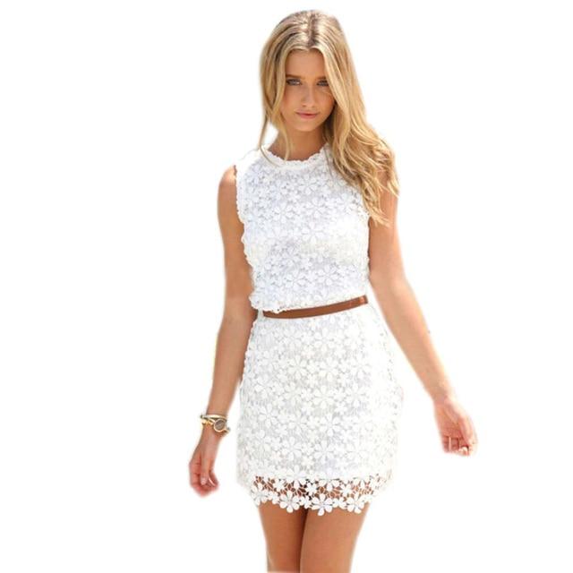 Summer New Women White Lace Dress Casual Sleeveless O-neck Elegant Lady Office Dresses For Party Female Slim Vestidos