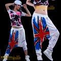 2016 Best quality Women's clothing fashion Doodle ds costumes dance jazz pants hip hop  pants jazz female harem trousers
