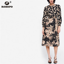 ROHOPO Autumn Long Sleeve Tunic Floral Midi Dress Lantern Patchaork Maxi Flare Accordion Vintage Ladies #CW9000