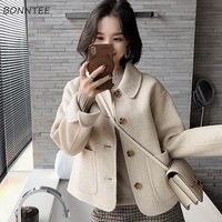 Wool Women Solid Chic Single Breasted Pockets Kawaii Short Blends Students All match Thicker Coat Womens Elegant Woolen Coats