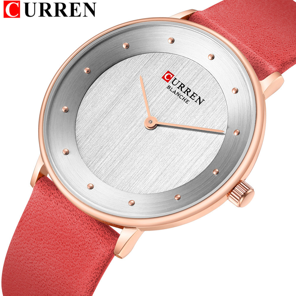 CURREN 9033 Red Watches For Women Ladies Dress Quartz Genuine Leather Wrist Watch Simple Classic Female Clock Bayan Kol Saati