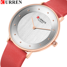 CURREN 9033 Rot Uhren Für Frauen Damen Kleid Quarz Echtem Leder Armbanduhr Einfache Klassische Weibliche Uhr bajan kol saati