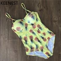 KEENEST Swimwear Women 2018 Swimsuit Female Pineapple One Piece Push Up bikini Set Girls