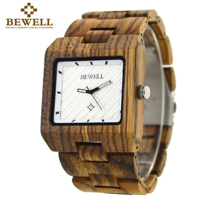 Bewell 2016 festival memorial day relojes de madera los hombres sensación de bosque natural de madera reloj de cuarzo relogio masculino reloj analógico 016a