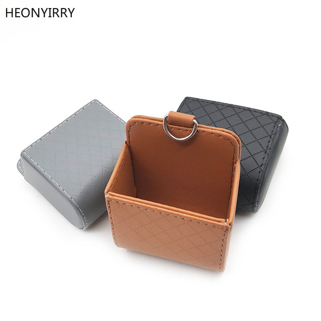 Car Storage Bag Outlet Vent Tidy Storage Box Car Organizer Auto Interior Accessories Pocket Glasses Phone Container PU Leather