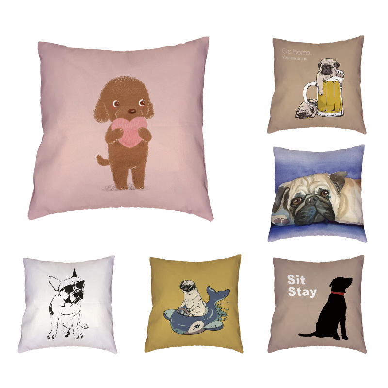 Cute Lovely Pug Dog Decoration Cushion Cover Cotton Linen Square Throw Pillow Cover 45x45CM Pillowcase Home Office Sofa Decor