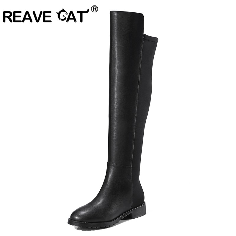 REAVE CAT Shoes Women Over The Knee Boots Woman Pu Boot Zipper Slim Bottes Femme Squre