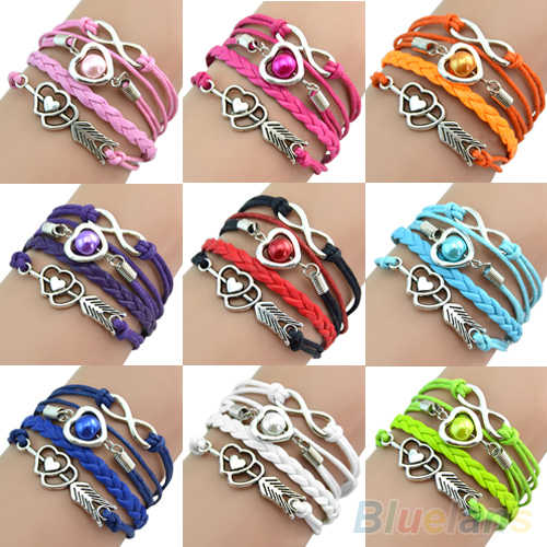 Retro Cupid's Arrow Love Beads Cuff Bracelet Leather Bangle Lovers Gift B02 1KYR