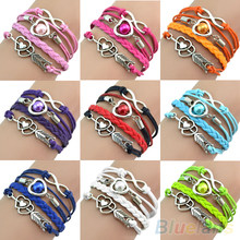 Retro Cupid's Arrow Love Beads Cuff Bracelet Leather Bangle Lovers Gift B02 1KYR(China)