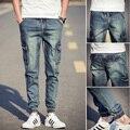 Primavera 2016 denim jeans motorista Metrosexual B0338 de Bolsillo pantalones vaqueros flacos de los hombres pantalones vaqueros hombre spijkerbroek