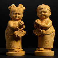 2pcs/set golden boy and girl Boxwood crafts a pair of solid wood children statue home accessories wedding decors gifts