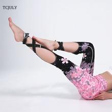 TCJULY New Design Sakura Gradient Printed Women's Leggings For Fitness Push Up High Waist Leggings Sexy Crisscross Tie Up Legins