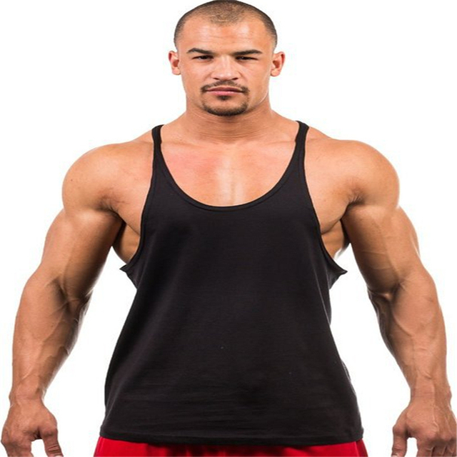 763cc65e76 Plain Gym Tank Top Men Custom Logo Printing Bodybuilding Stringer Tank Tops  Fitness Singlet Sleeveless Shirt Brushed Cotton OEM