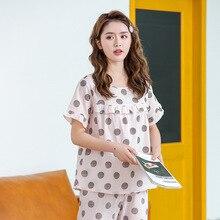 Feier Women Sleepwear Pajamas Cute Polka Dot Casual Tops Home Shortsleeve Nightwear 2PCS Set Satin Chiffon Loose 2019