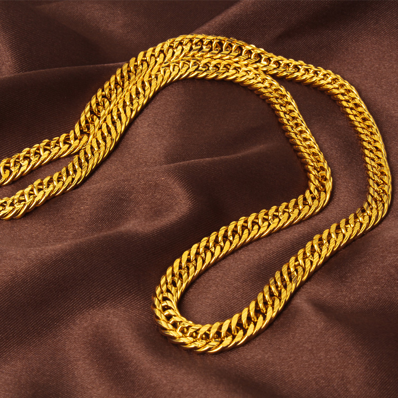 Regal Gold Color Mens Thick Necklace Yellow Gold Filled Carved Double Cuban Link Chain 19.68 inches