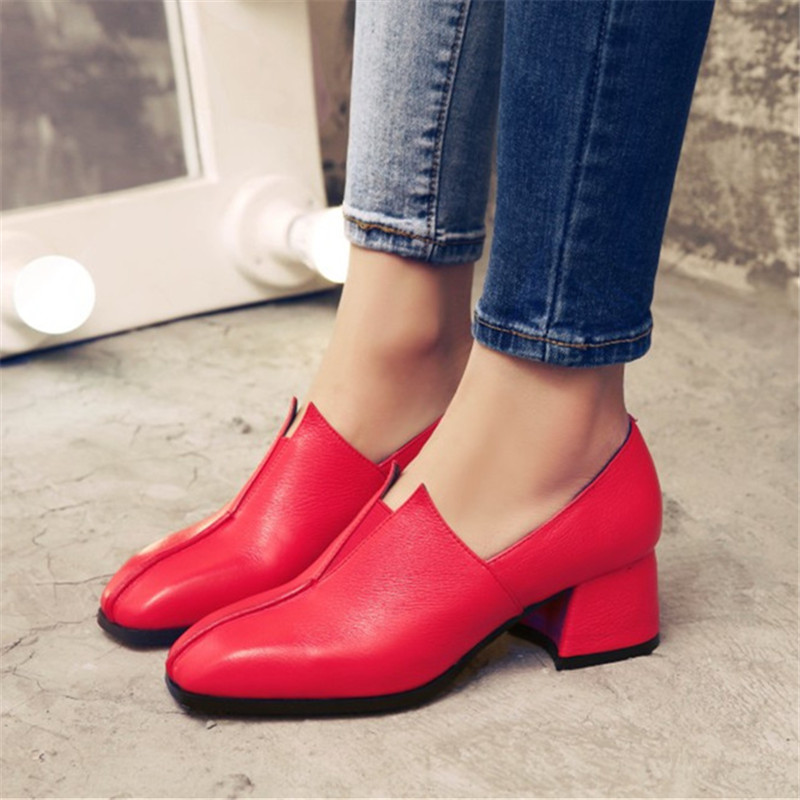 2017 Fashion Women Genuine Leather Medium High-heeled Shoes Woman Square Toe Pumps Designer Shoes Tacones Mujer Plus Size 34-42 selens pro 100x100mm 12nd square medium