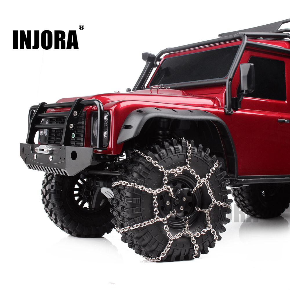 INJORA 2Pcs Metal 120mm 1.9inch Tires Snow Chain For 1/10 RC Rock Crawler Traxxas TRX-4 TRX4 Axial SCX10 90046