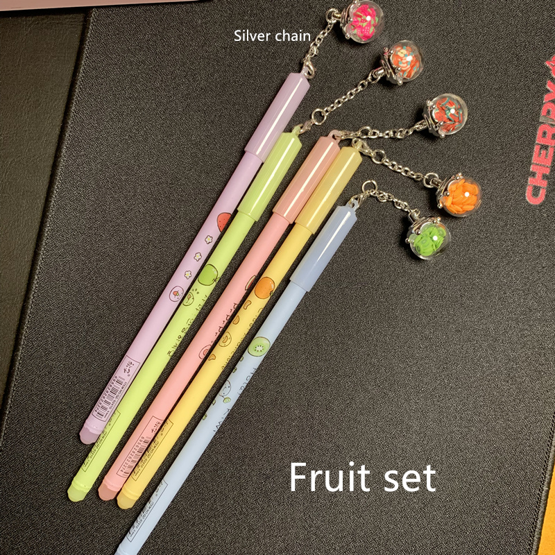 5 pcs Lot Wish ball pendant gel pens Fruit luminous 0 5mm roller ballpoint pen Signature writing gift office supplies FB190 in Gel Pens from Office School Supplies