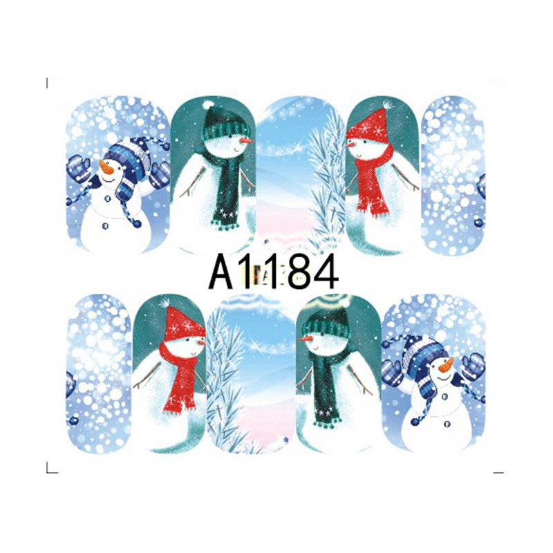 1 sheet winter water decal snowman pattern manicure nail