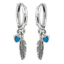 3dbdbd6c7 Feathers Dangle pandora Earring with Enamel 2018 Summer Original 925  Sterling Silver Drop For Women Charm