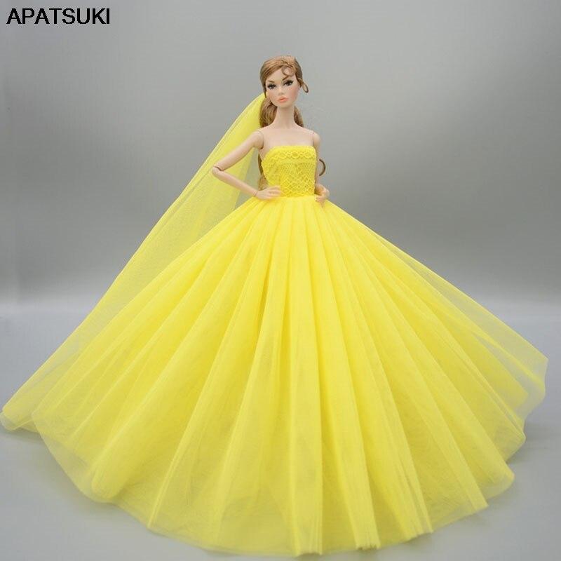 Желтый кукла платье для куклы Барби одежда Высокое качество длинный хвост вечернее платье Свадебные платья + фата кукла 1/6 аксессуары