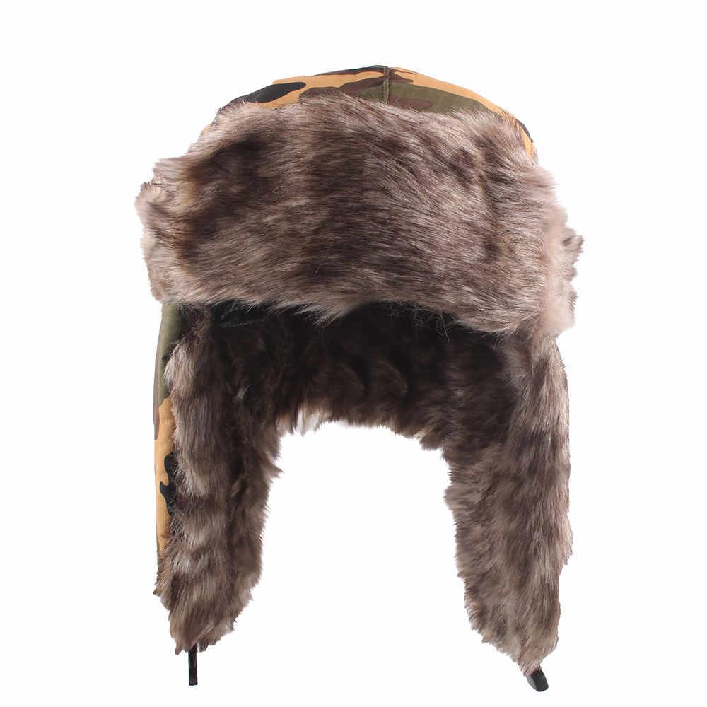 Alta calidad sombrero de bombardero ruso Ejército Soldado aviador invierno  sombrero gorra orejeras acolchado tapa plana 34bb887ed59