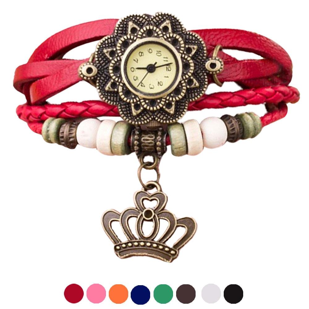 цены Quartz Weave Around Leather Crown Bracelet Lady Woman Wrist Watch   Essential   Dec06