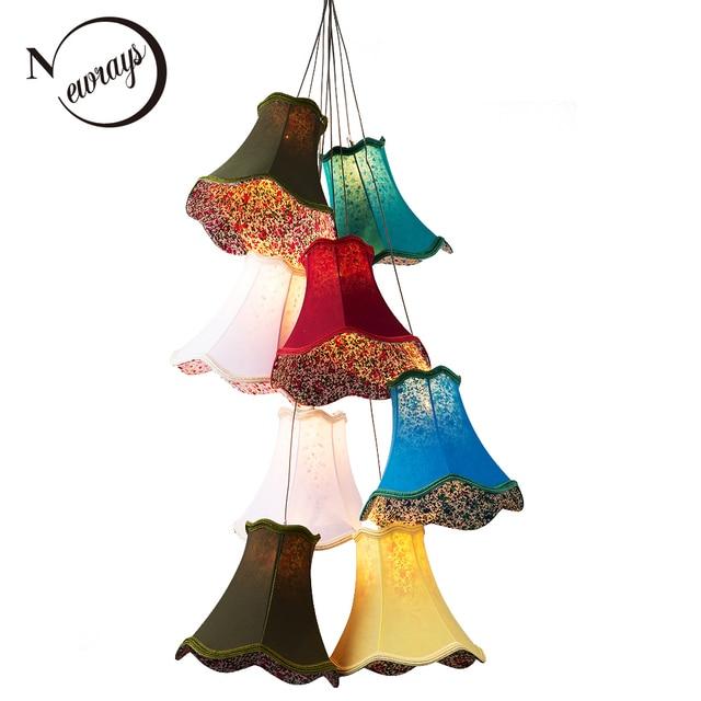 Moderne Bunte Stoff Lampenschirm Led Große Treppen Kronleuchter