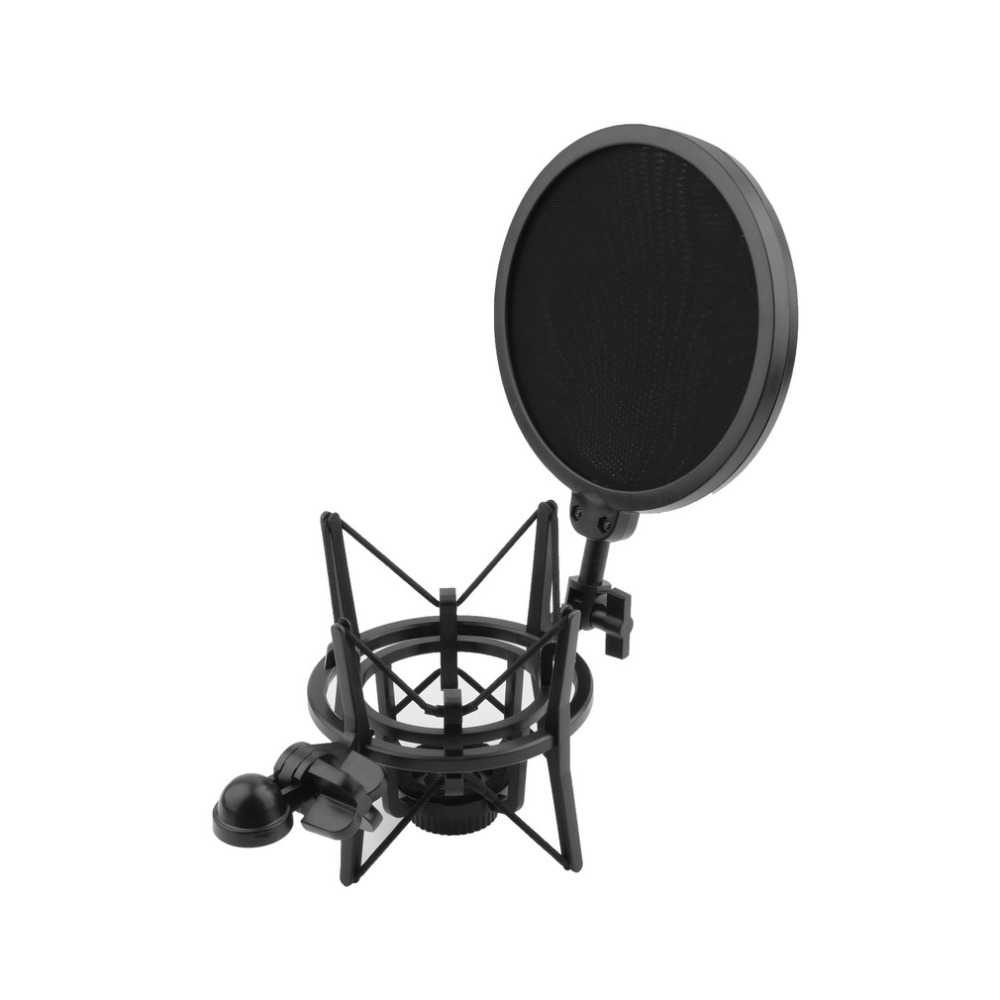 High Quality 1 Set Microphone Shock Mount Stand Holder with Integrated Pop Filter Black Kit 1