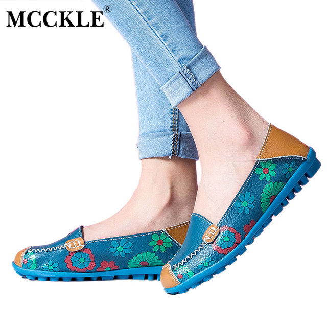 MCCKLE 2017 Spring Women Casual Shoes Female Genuine Leather Printing Loafers Shoes Woman Fashion Slip On Shallow Flats Shoes