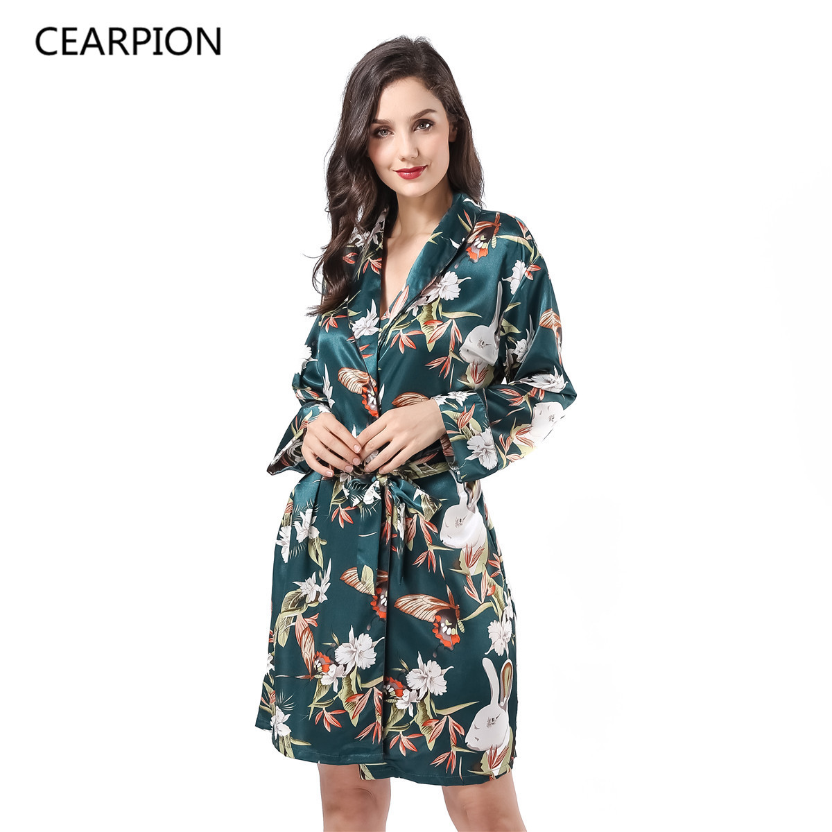CEARPION Long Sleeve Kimono Bath Robe Gown Print Floral Sleepwear Satin Nightgown Lady Sexy Home Dress Soft Intimate Lingerie
