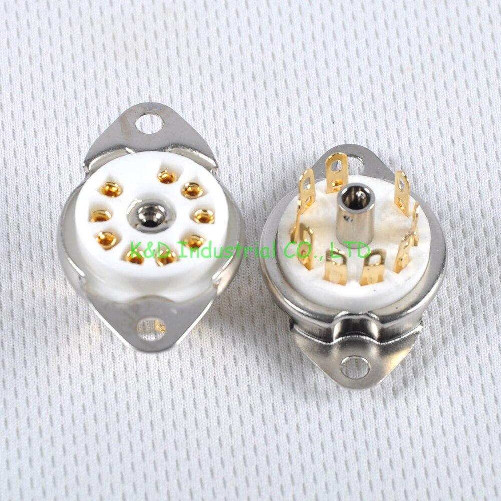 2pcs Ceramic Valve Tube Socket 9Pin Gold Plate B9A Base 6922 6N11 12AX7 Amp Part Socket