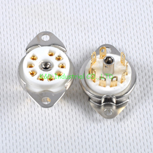 2pcs Ceramic Valve Tube Socket 9Pin Gold Plate B9A Base 6922 6N11 12AX7 Amp Part