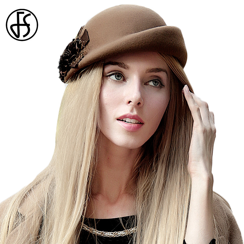 e17c7d83785 Detail Feedback Questions about FS Vintage French Wool Women Beret Winter  Felt Hat With Flower Flat Top Hats Lady Stewardess Cap Fedoras Chapeau  Femme ...