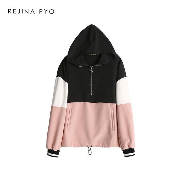 REJINAPYO Women Contrast Color Fashion Jacket Coat Zippers Pockets Female All-match Streetwear Loose Jacket Outerwear