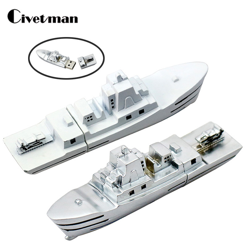 Metal Steamship USB Flash Drive Ship Pendrive Memory Stick Real Capacity 4GB 8GB 16GB 32GB 64GB 128GB Warship Pen Drive Gifts